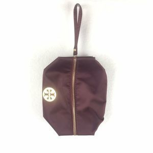 Tory Burch Maroon Makeup Bag Zip Closure Logo